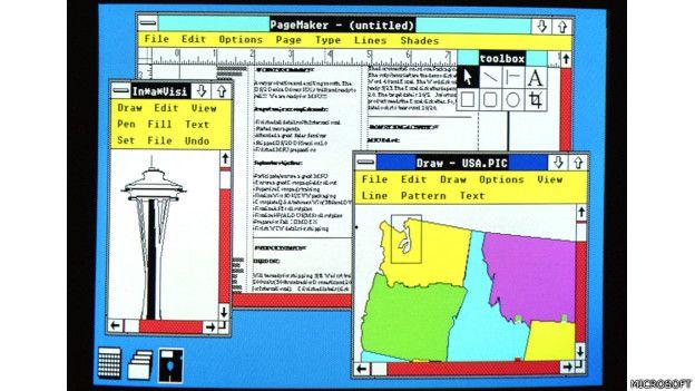 En 1987 Microsoft lanza Windows 2.0 con iconos de escritorio, memoria ampliada, mejores gráficos y la posibilidad de superponer ventanas, controlar el diseño de la pantalla y usar atajos con el teclado para acelerar el trabajo.  (Presione la tecla ESC para salir de esta vista)
