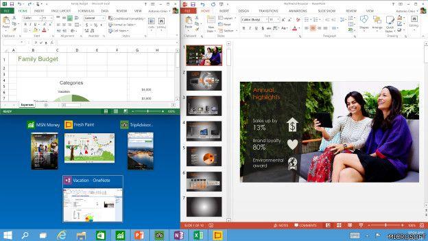 En 2014 Microsoft presentó Windows 10, que llega oficialmente a partir del 29 de julio de 2015. Esta es la primera versión de Windows que busca la integración de todos los dispositivos: escritorio, portátiles, teléfonos inteligentes y tabletas.  (Presione la tecla ESC para salir de esta vista)